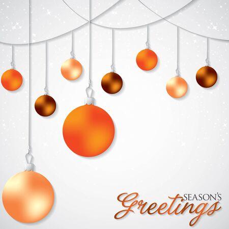 Elegant hanging Christmas baubles in vector format.