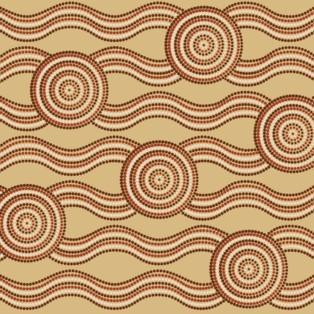 australian culture: Abstract Aboriginal dot painting in vector format.