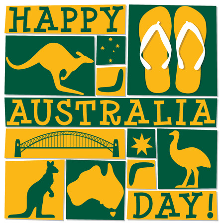 Funky Australia Day card in vector format. Çizim