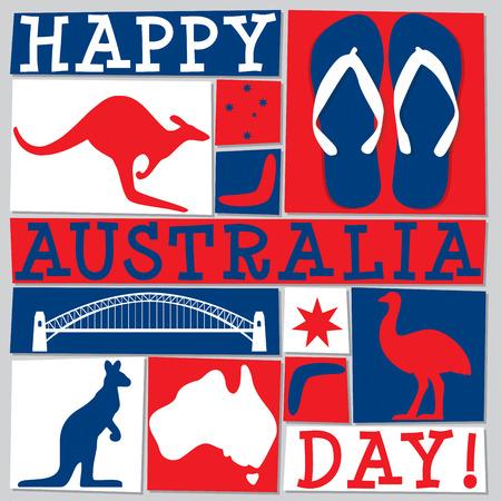 Funky Australia Day card in vector format. 矢量图像