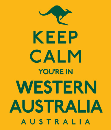 keep in: Keep Calm Youre In Western Australia poster in vector format.