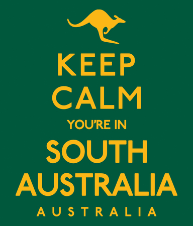 Keep Calm Youre In South Australia poster in vector format.