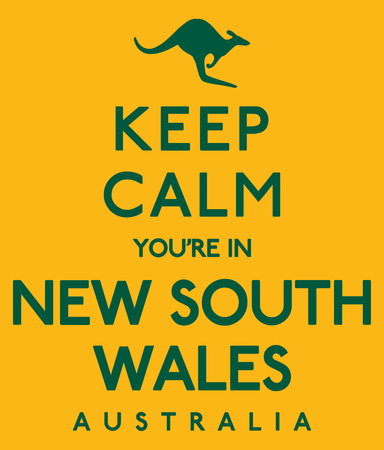 Keep Calm Youre In New South Wales poster in vector format.
