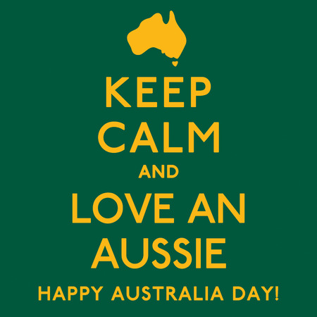 keep in: Keep Calm and Love an Aussie poster in vector format. Illustration