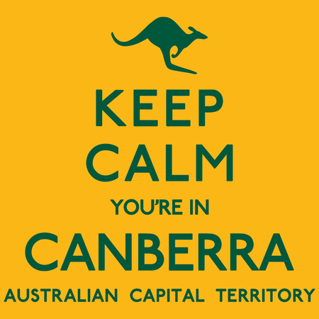 keep in: Keep Calm Youre In Canberra poster in vector format. Illustration