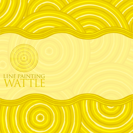 wattle: Line painting invite greeting card in vector format.