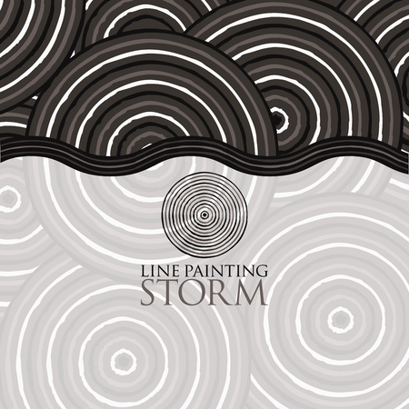 Line painting invite/ greeting card