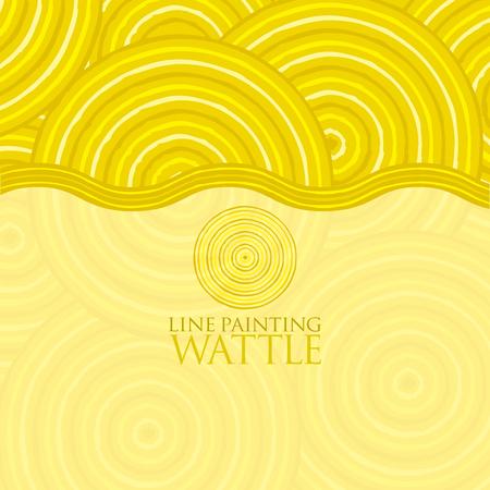 wattle: Line painting invite greeting card Illustration