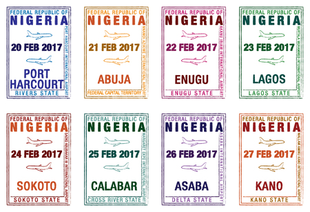 Stylised passport stamps of Nigeria in vector format. Illustration