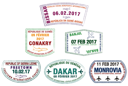 Stylized passport stamps of Liberia, Guinea-Bissau, Guinea, Sierra Leone, the Gambia and Senegal in vector format.