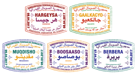 Stylised passport stamps of Somalia in vector format.