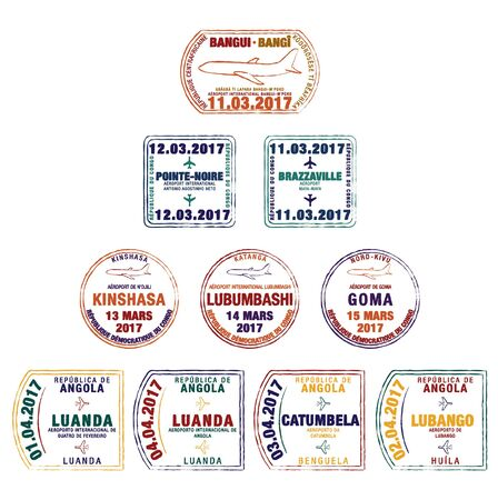Stylised passport stamps of the Central African Republic, Democratic Republic of Congo, Republic of Congo and Angola in vector format.