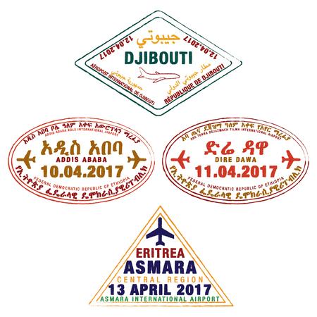 Stylised passport stamps of Djibouti, Ethiopia and Eritrea in vector format. Ilustração