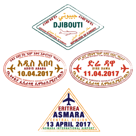 dire: Stylised passport stamps of Djibouti, Ethiopia and Eritrea in vector format. Illustration