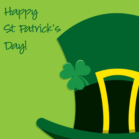 gold buckle: Leprechauns hat St Patricks Day card in vector format.