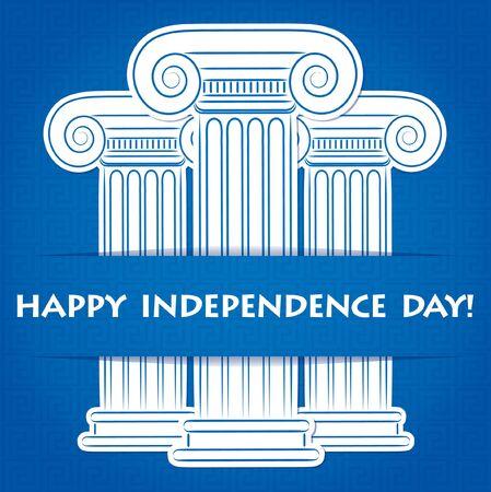 roman column: Column Greek Independence Day card in vector format.