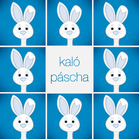 pascha: Bright Easter Bunny card in vector format. Words translate to Happy Easter. Illustration