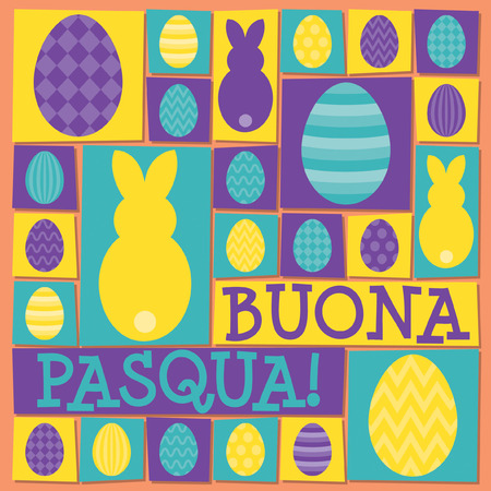 Funky Easter card in vector format. Words translate to Happy Easter. Illustration