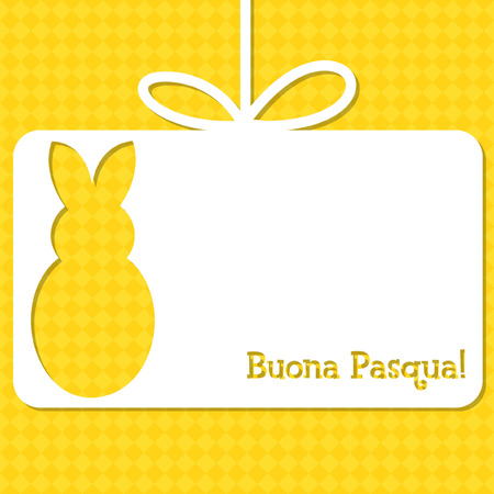 Easter cut out tag card in vector format. Words translate to Happy Easter.