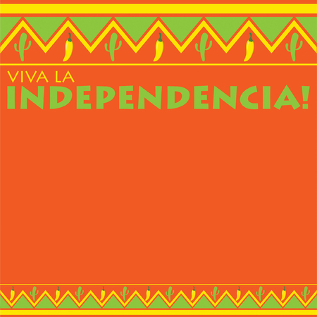 Mexican pattern Viva la Independencia card in vector format. Translation Long live the Independence! Illustration