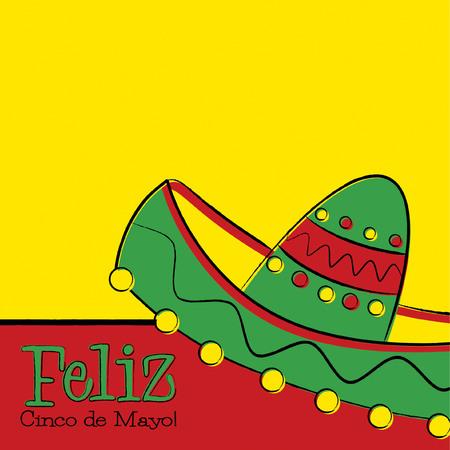 Funky hand drawn sombrero Cinco de Mayo card in vector format.