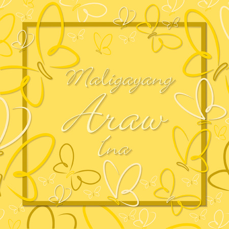 Filipino Butterfly border Mothers Day card in format.