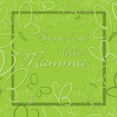 Italian Butterfly Frame Mothers Day card in format. Ilustração