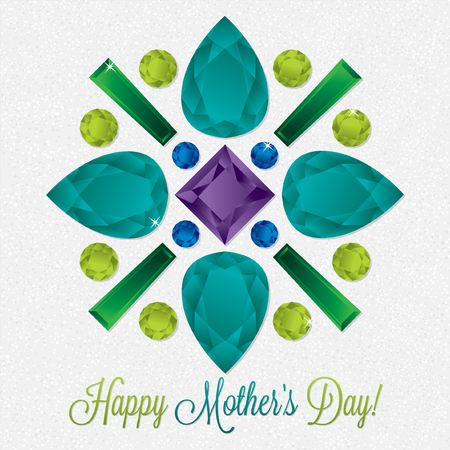 Mothers Day gem card in vector format. Illustration