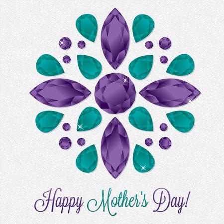 Mothers Day gem card in vector format. Illustration
