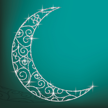 Filigree glitter moon card in vector format. Illustration