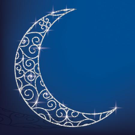 Filigree glitter moon card in vector format. Illustration