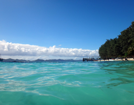 Scen of Doini Island from the water, Papua New Guinea. Stock Photo