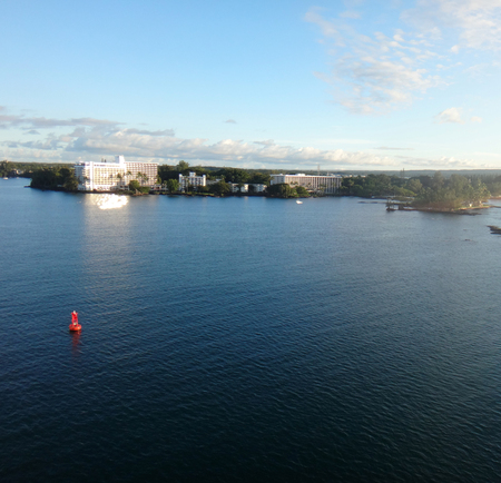 Departure from Hilo, Hawaii from a cruise ship. Stock Photo