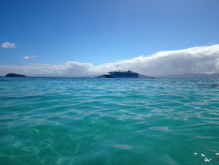 Scene of cruise ship from the water, Papua New Guinea. Stock Photo