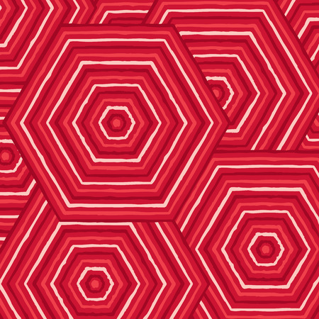 burgundy: Hexagonal abstract Aboriginal line painting in vector format.