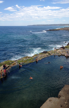 The Bogey Hole, Newcastle, NSW Australia. Also known as Commandants Baths, it was built by convicts in the 1820s for the use of the Commandant of Newcastle, Lieutenant-Colonel James Thomas Morisset.