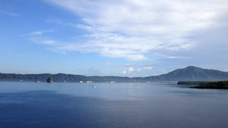Scene of Simpson Harbour and Rabaul from a cruise ship. Stock Photo