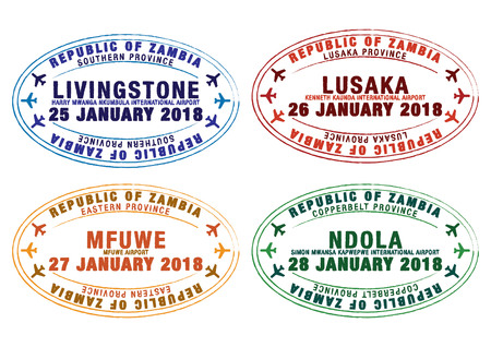 Set of stylized passport stamps for major airports of Zambia in vector format.