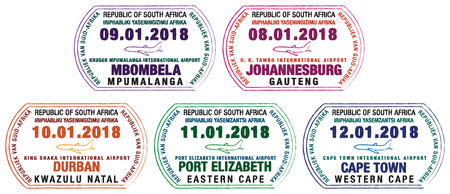 Set of stylized passport stamps for major South African airports in vector format.