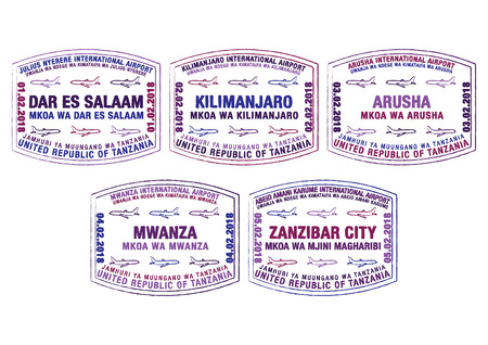 Set of stylized passport stamps for major airports of Tanzania in vector format. Stock Illustratie