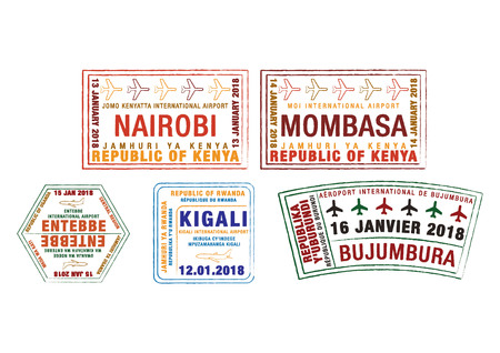 Set of stylized passport stamps for major airports of Kenya, Uganda, Rwanda and Burundi in vector format.