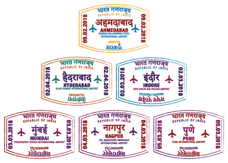 Set of stylized passport stamps for major airports of western India in vector format.