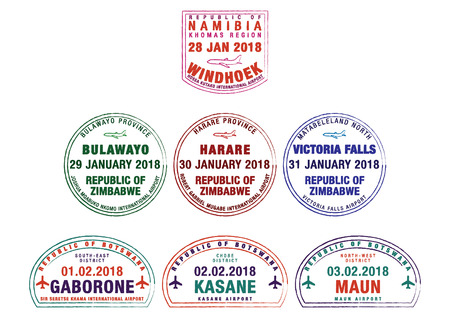 Set of stylized passport stamps for major airports of Namibia, Zimbabwe and Botswana in vector format.
