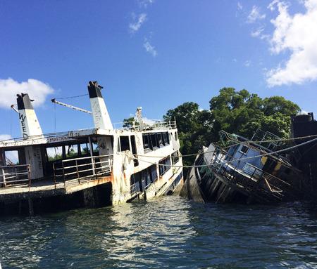 Shipwrecks in Port Vila Harbor, Efate, Vanuatu.