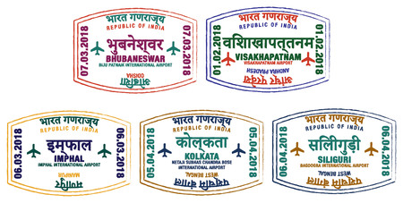 Set of stylised passport stamps for major airports of eastern India in vector format. Illustration