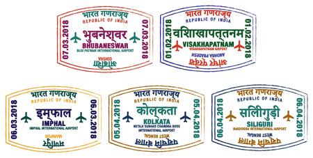 Zestaw stylizowanych znaczków paszportowych dla głównych lotnisk wschodnich Indii w formacie wektorowym. Ilustracje wektorowe