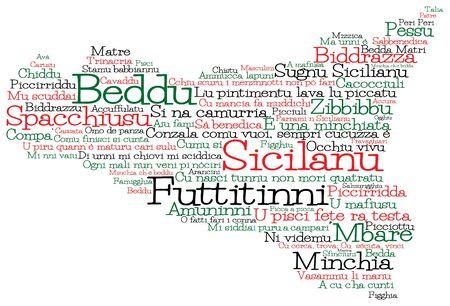 Carte de la Sicile faite de mots d'argot sicilien au format vectoriel.