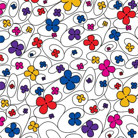 Swirly whimsical floral pattern in vector format.