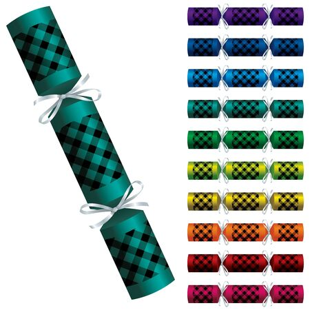 Bright buffalo plaid Christmas crackers in vector format.