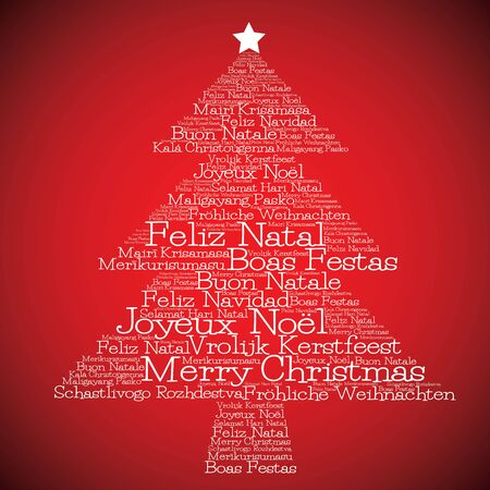 Christmas tree made from Merry Christmas in different languages in vector format.